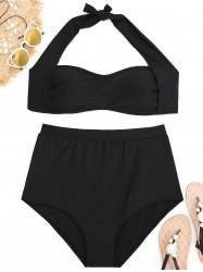 Halter Plus Size High Waisted Bikini Set -