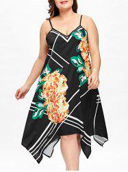 Plus Size Floral Handkerchief Slip Dress -