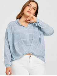 Grid High Low Plus Size Blouse -