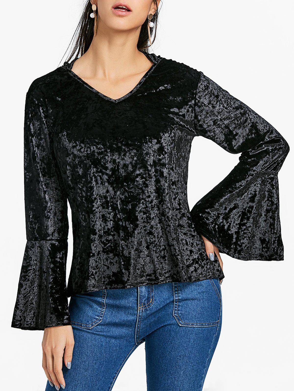 New Velvet Bell Sleeve Blouse