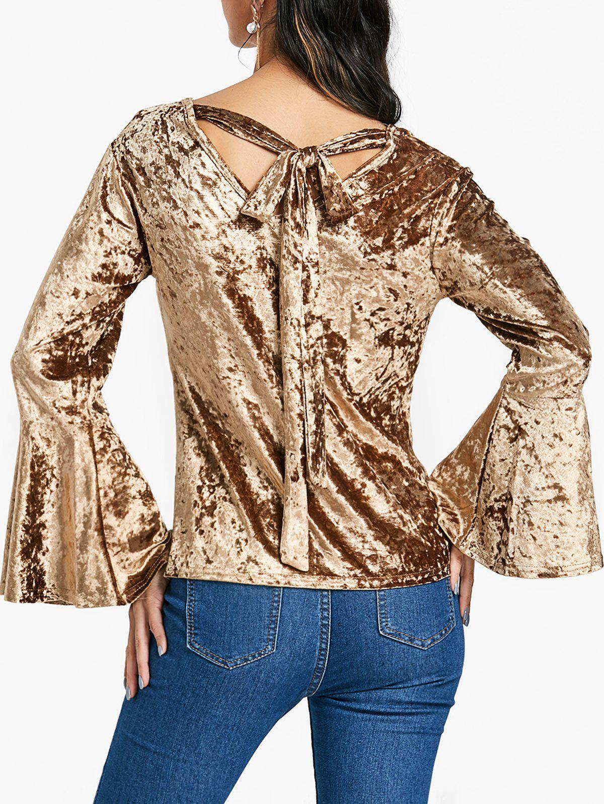 Outfits Velvet Bell Sleeve Blouse