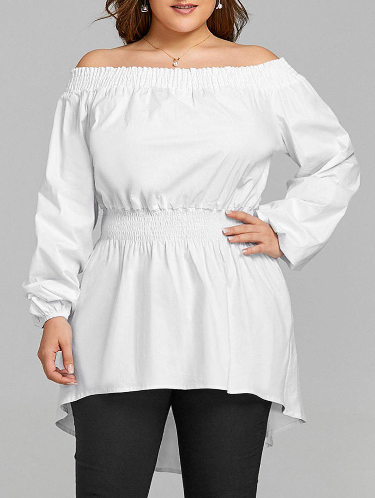 Latest Plus Size Long Off The Shoulder High Low Blouse