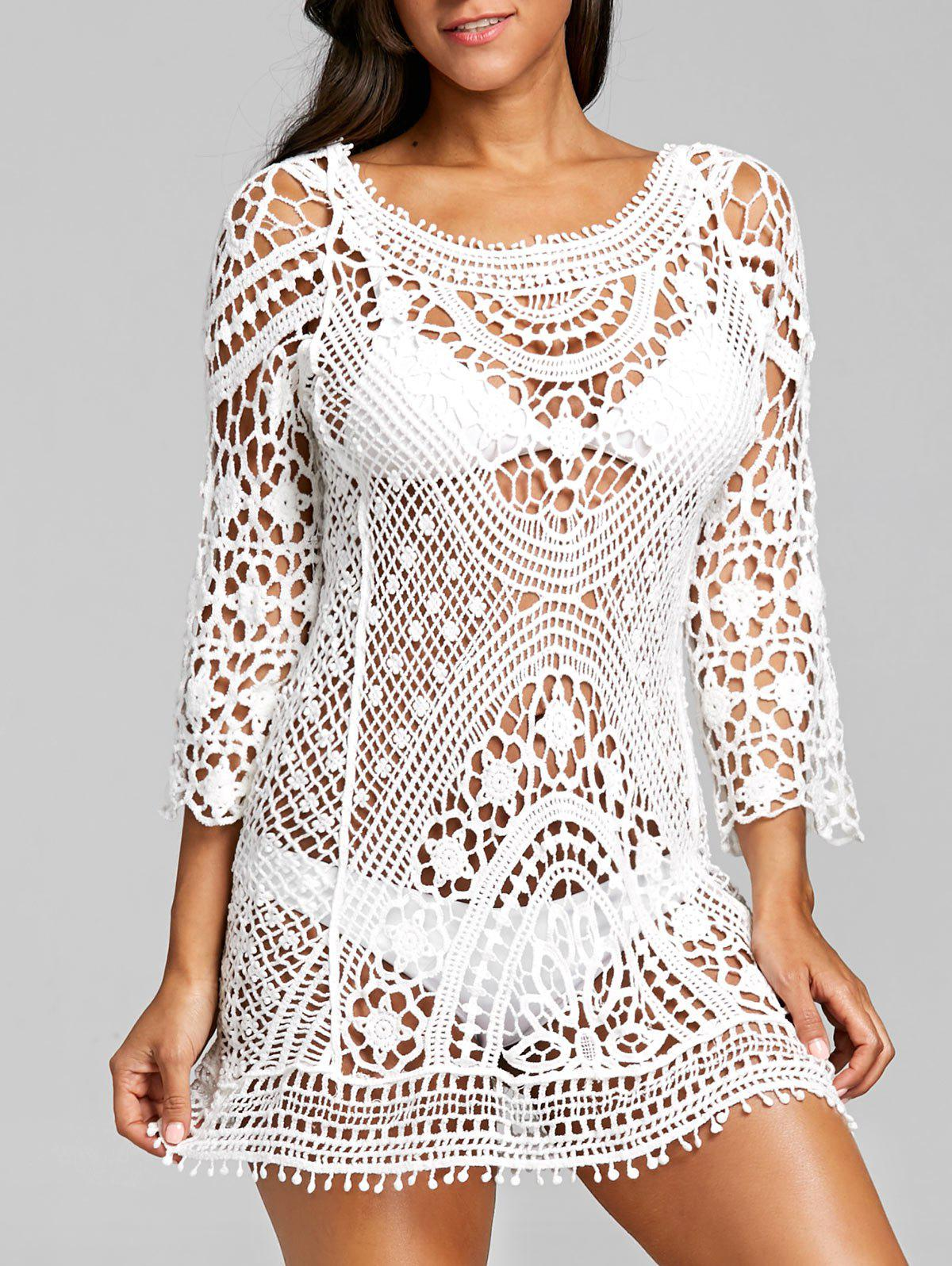Outfits Low Back Crochet Lace Cover Up Top