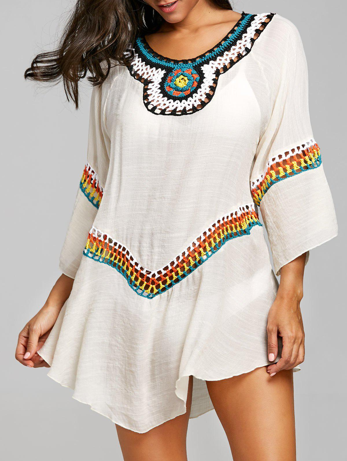 Shop Crochet Panel Tunic Asymmetrical Cover Up Top