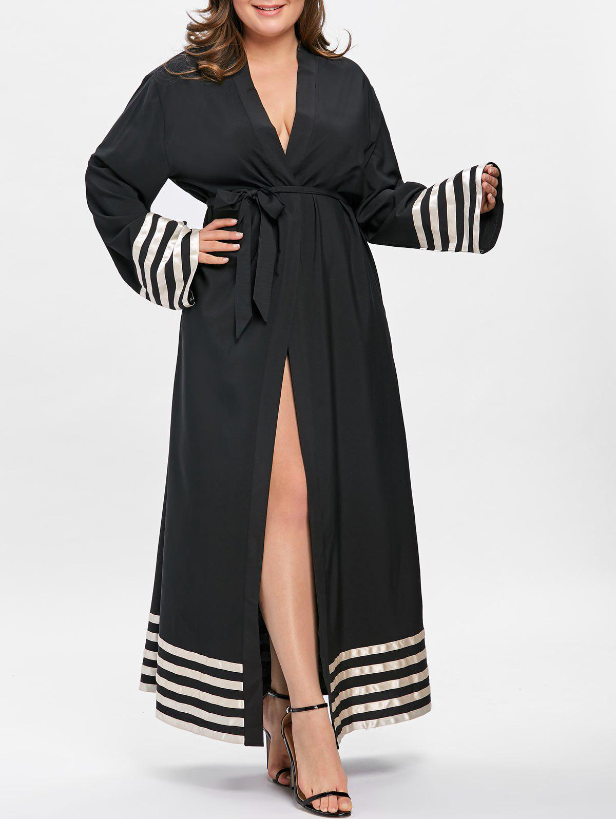 Latest Stripe Contrast Plus Size Maxi Robe Dress