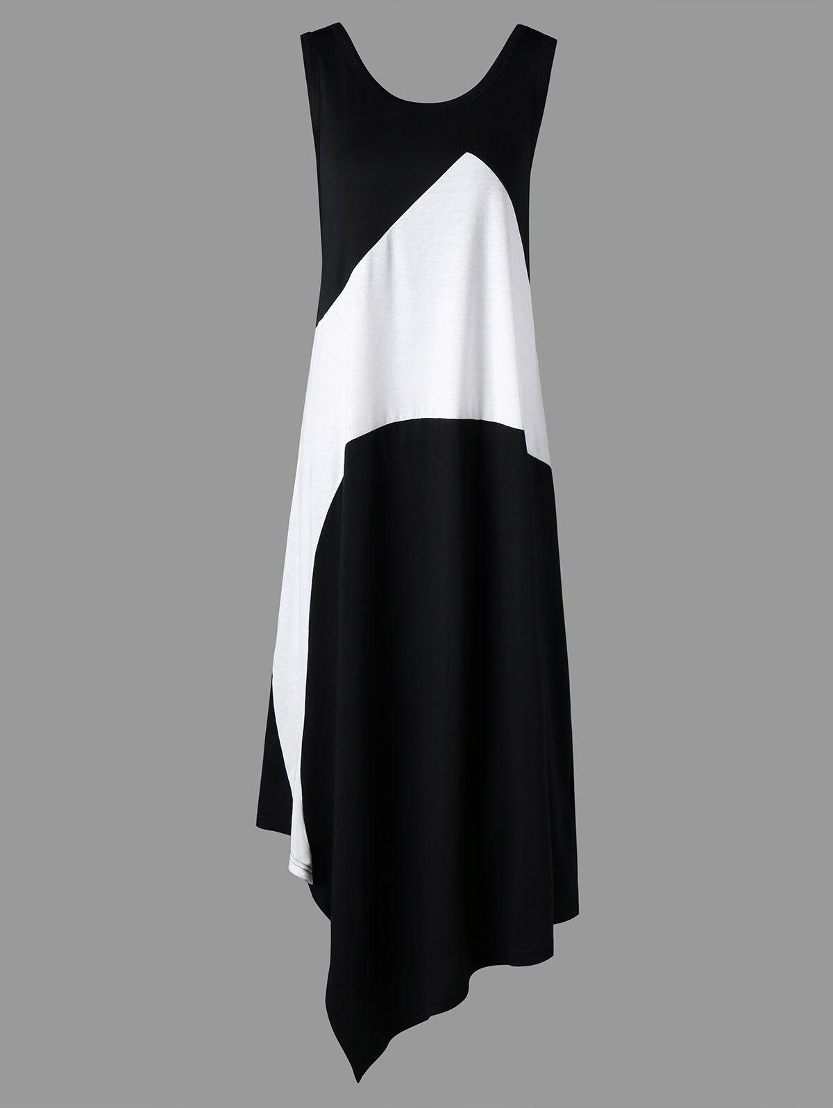 Best Plus Size Color Block Sleeveless Maxi Dress