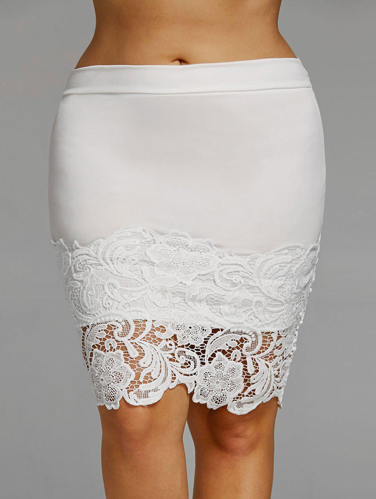 Hot Plus Size Lace Hem Fitted Skirt