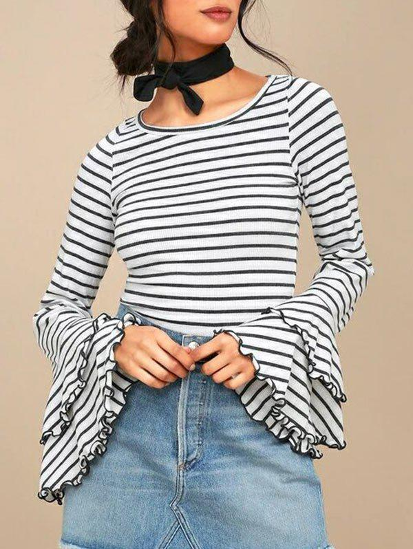 Buy Striped Bell Sleeve Tee