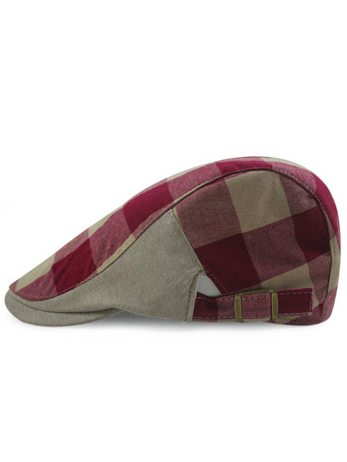 Fancy Simple Checked Pattern Embellished Adjustable Newsboy Hat