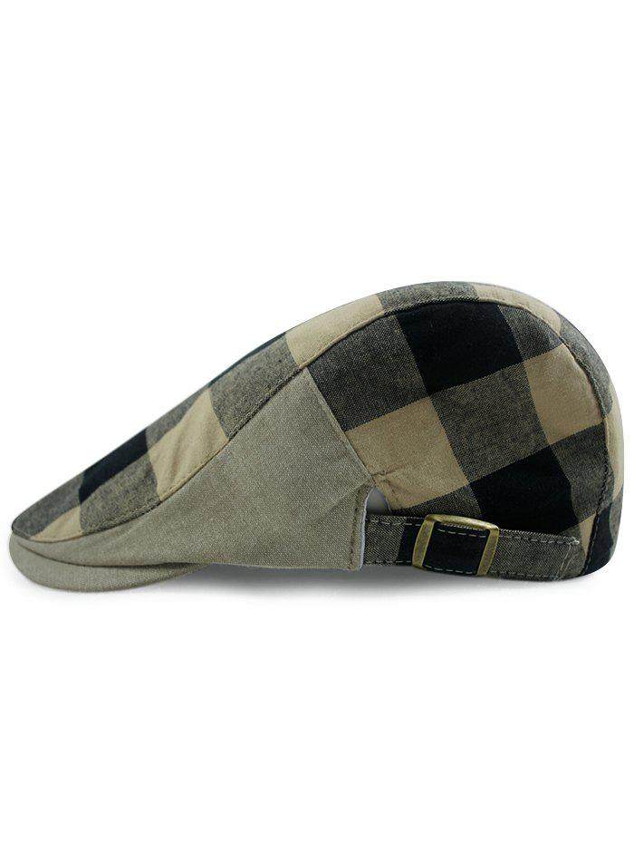 Hot Simple Checked Pattern Embellished Adjustable Newsboy Hat