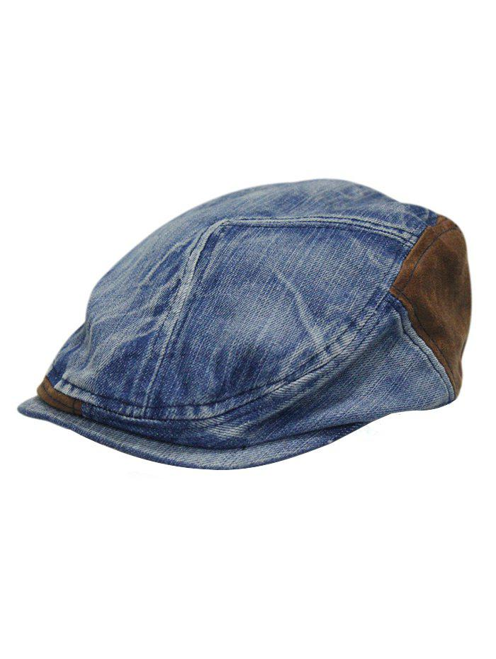 Online Retro Adjustable Washed Denim Newsboy Hat ace9664abf49