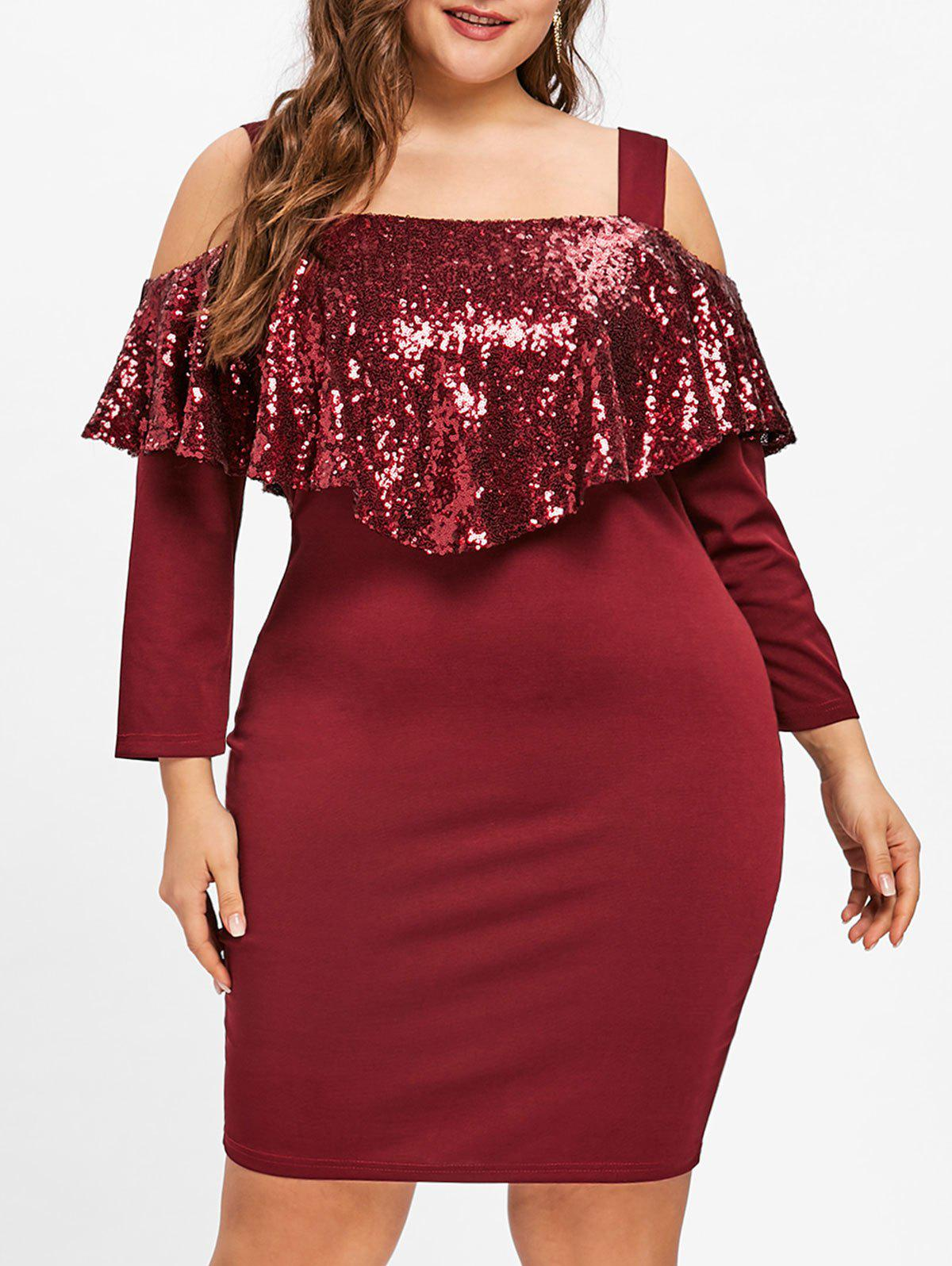 Unique Plus Size Cold Shoulder Sequins Capelet Dress