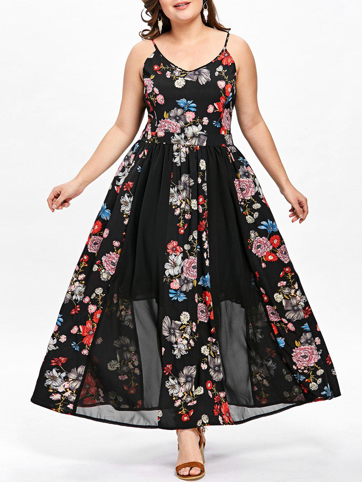 2019 Plus Size Bohemian Floral Flowing Slip Dress ...