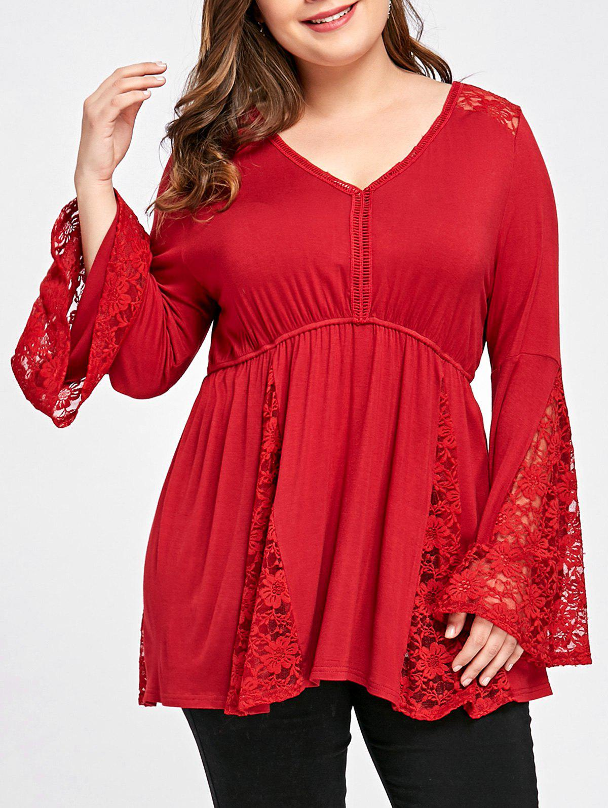 Buy Plus Size V Neck Bell Sleeve Top