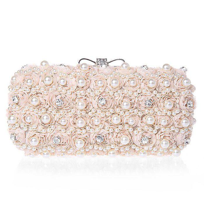 Online Lace Faux Pearl Rhinestone Flower Evening Bag