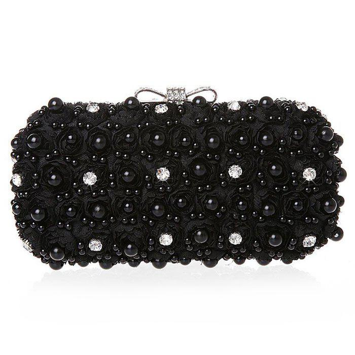 Store Lace Faux Pearl Rhinestone Flower Evening Bag