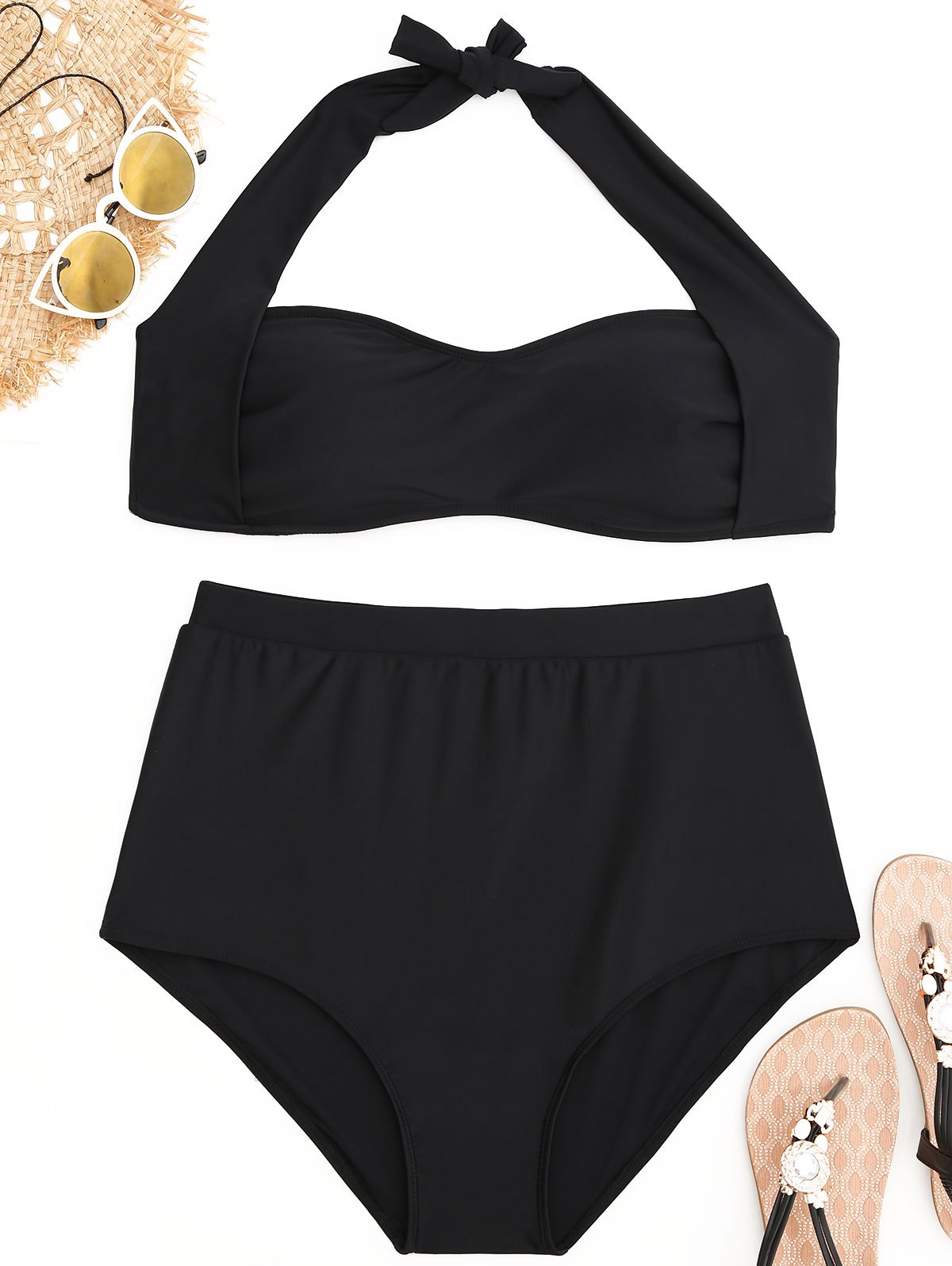 Hot Halter Plus Size High Waisted Bikini Set