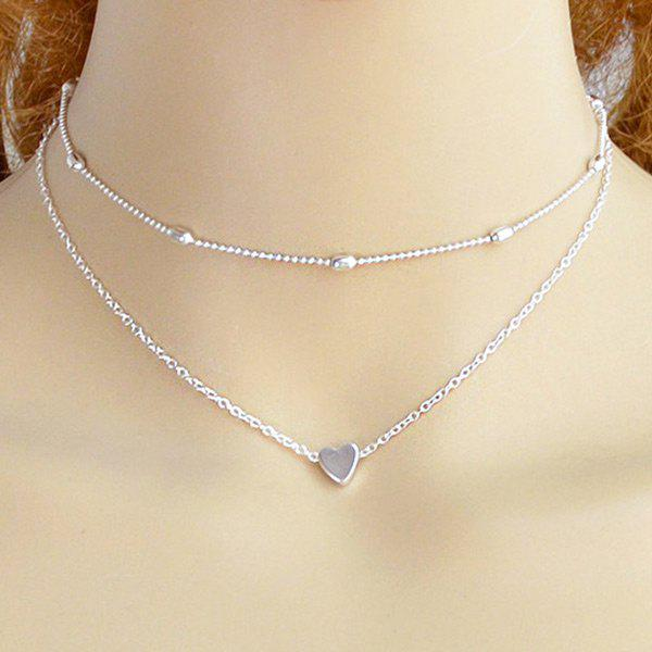Online Layered Heart Collarbone Two Piece Necklace Set