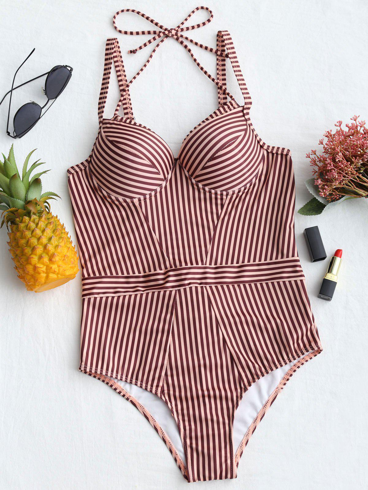 Affordable Push Up Stripe One Piece Swimsuit