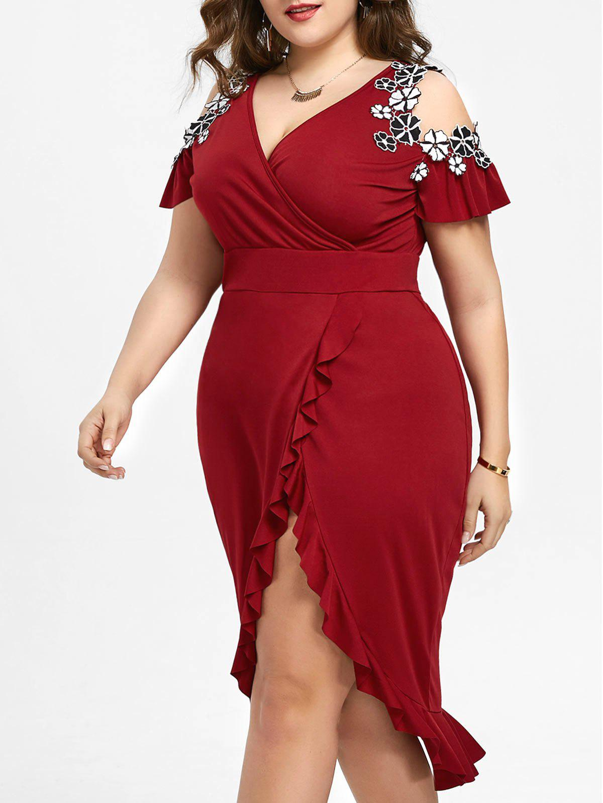 Fashion Plus Size Cold Shoulder Midi Dress
