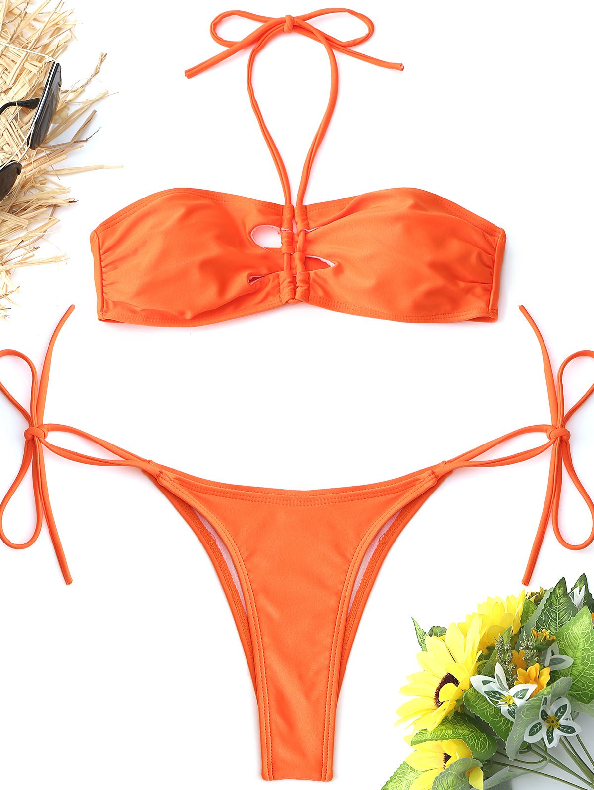 99e6dca5418 60% OFF] Halter High Cut String Bikini Set | Rosegal