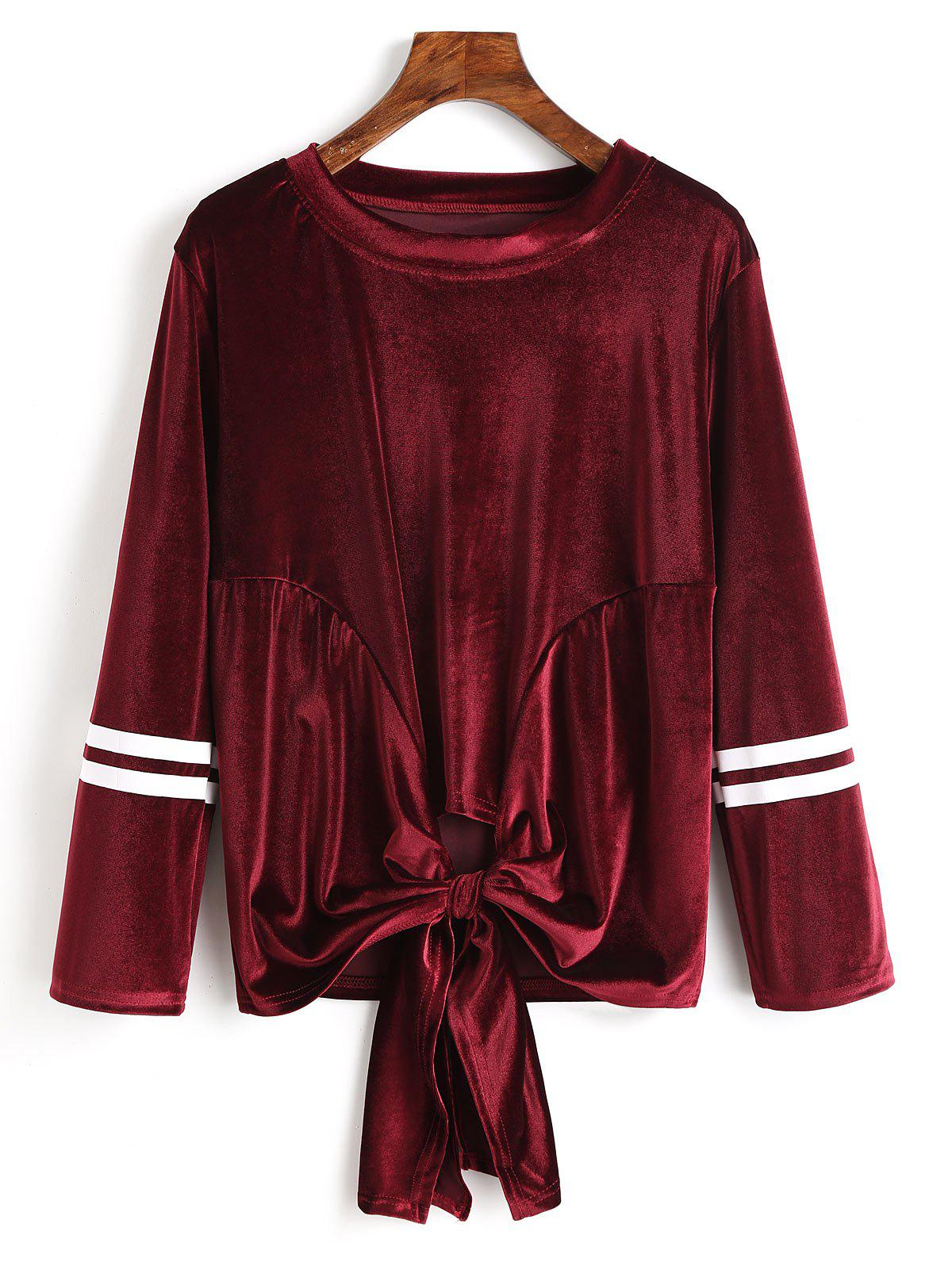 Latest Bowknot Hem Striped Velvet Sweatshirt
