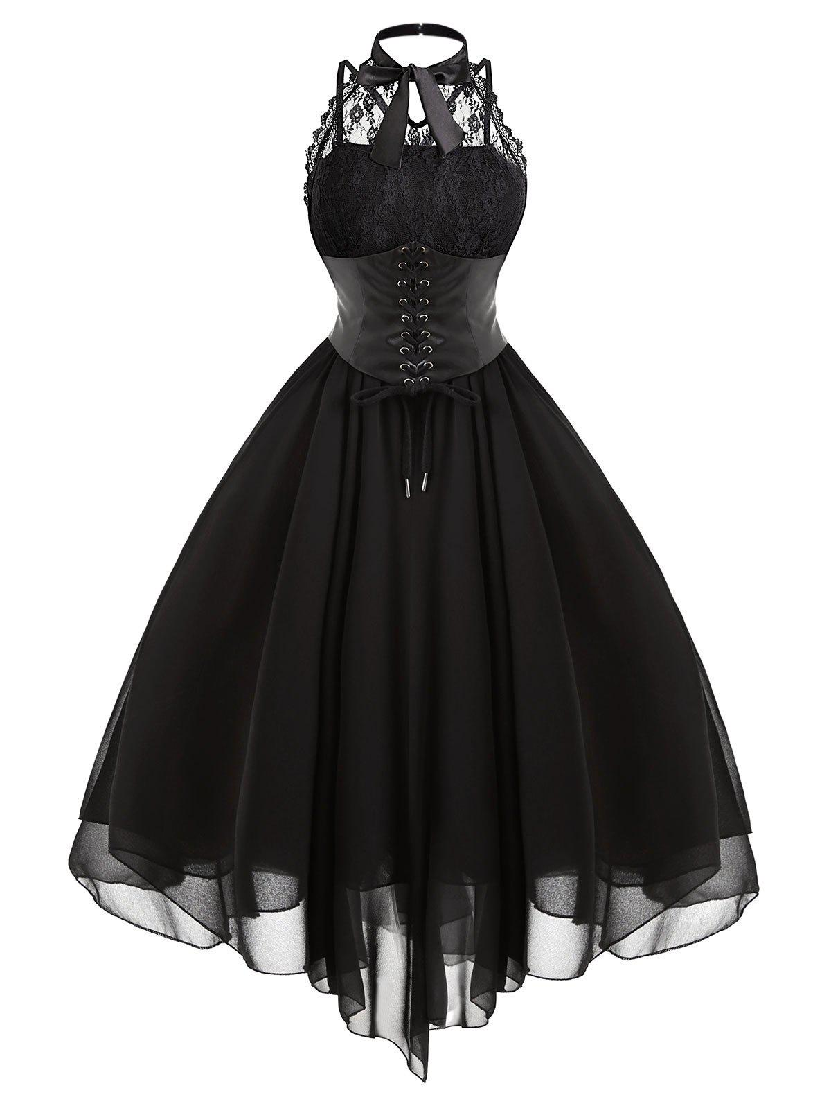 Chic Cross Back Lace Panel Gothic Corset Dress