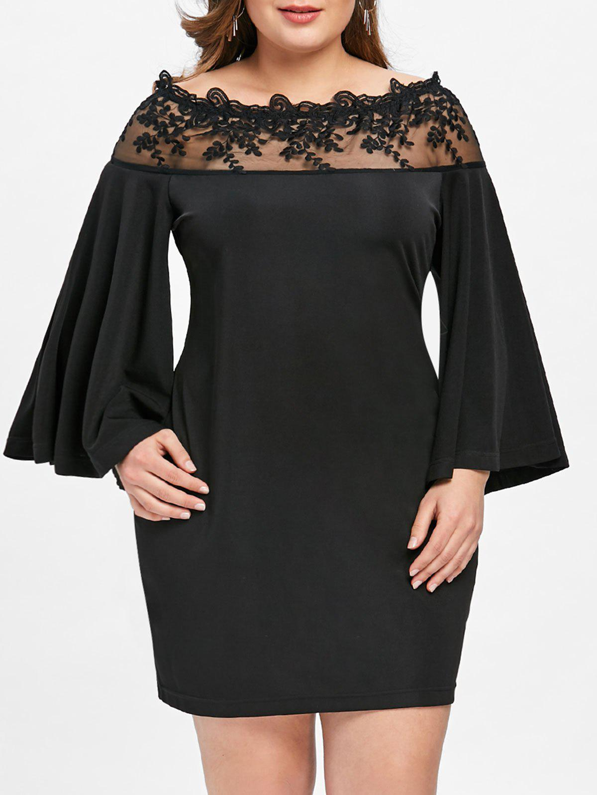 Sale Plus Size Lace Mesh Panel Off Shoulder Dress