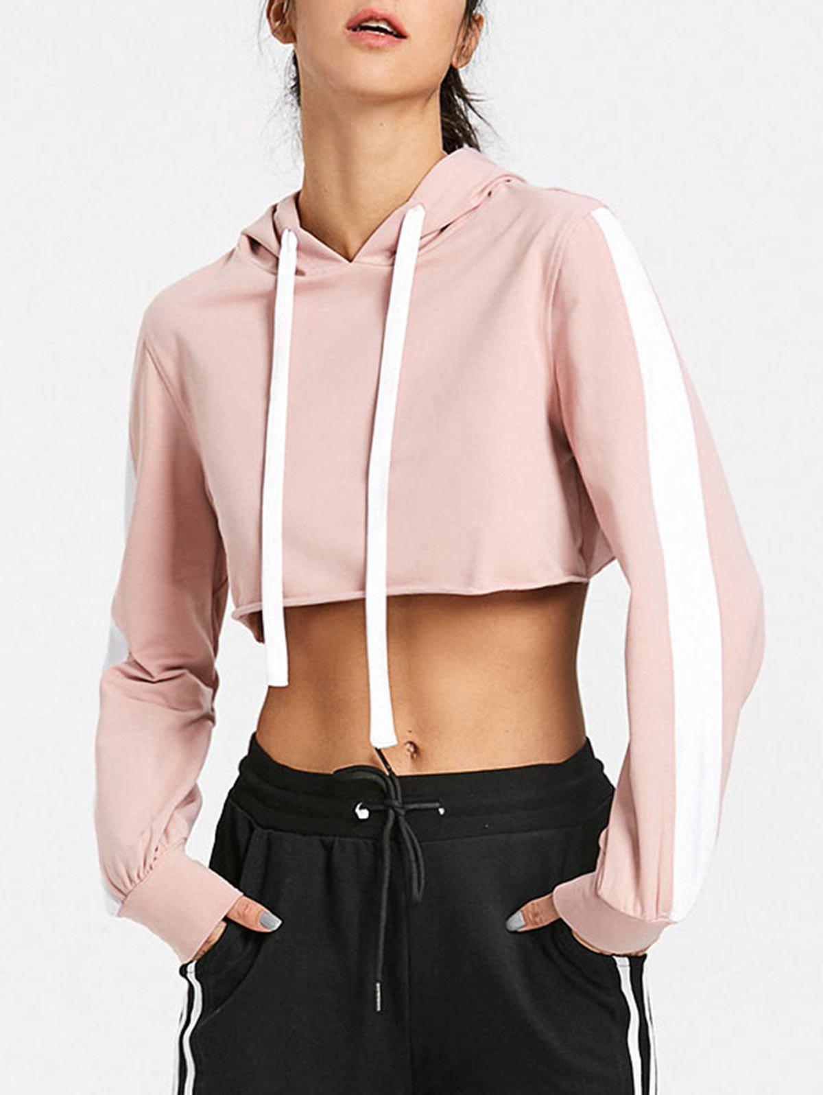 Shops Drawstring Sports Crop Hoodie