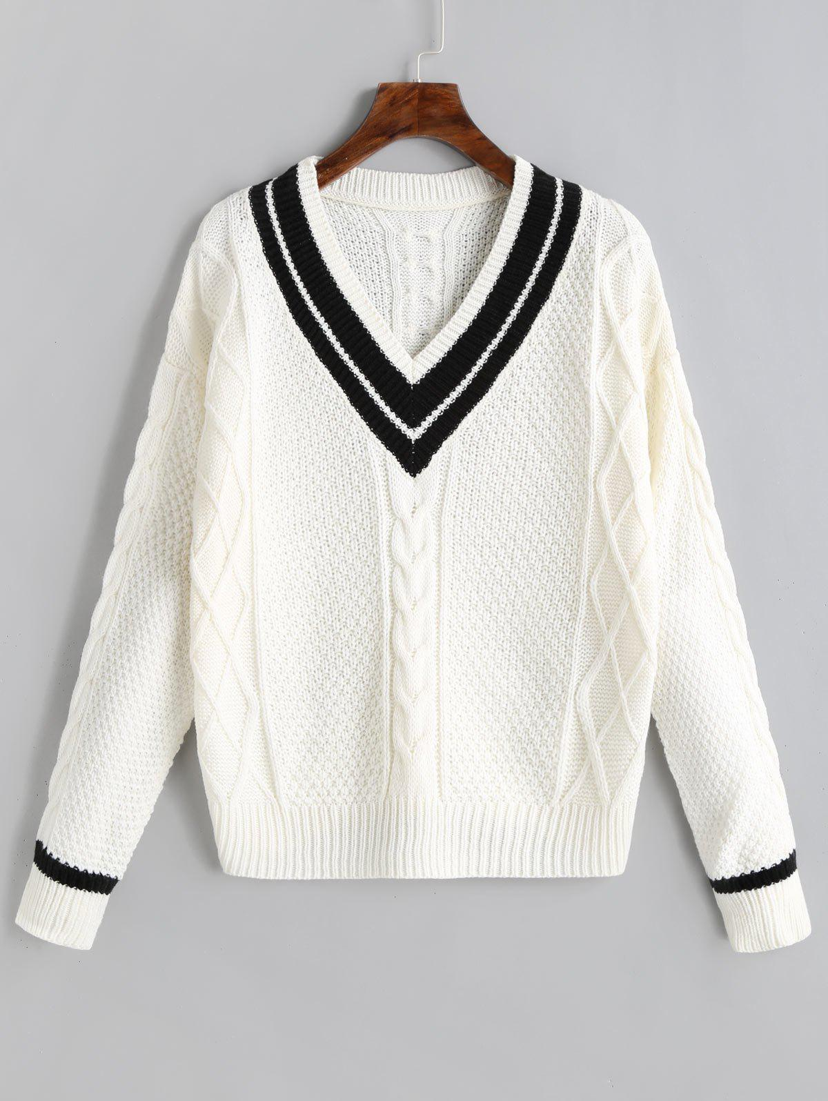 Outfit Contrast V Neck Cable Knit Sweater
