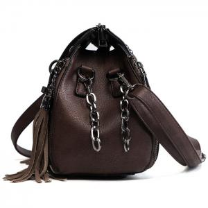 PU Leather Lock Embellished Tassel Crossbody Bag -