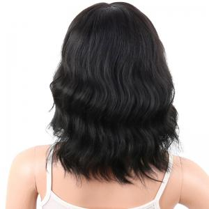 Medium Neat Bang Natural Wavy Human Hair Wig -