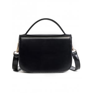 Metal Faux Leather Stitching Crossbody Bag -