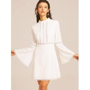 Lace Trim Flare Sleeve Flare Dress -