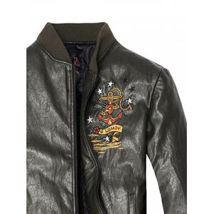 Embroidered Zip Up PU Leather Jacket -