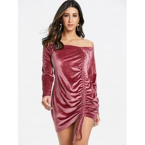 Velvet Off Shoulder Ruched Dress -