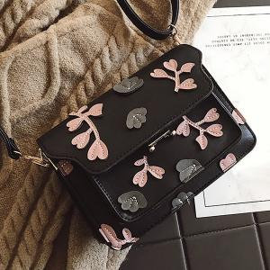 PU Leather Floral Shoulder Bag -