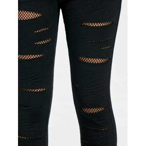 Fishnet Panel Ripped Leggings -