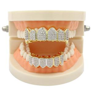 Хип-хоп Rhinestone Top и Bottom Teeth Grillz Set -