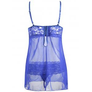 Cut Out Lace Mesh Slip Babydoll -