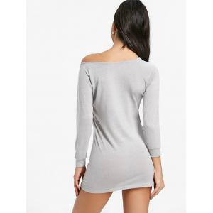Skew Neck Mini Bodycon Sweater Dress -