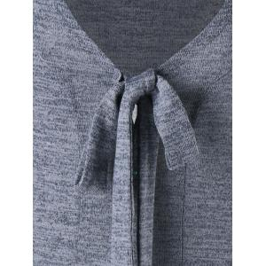 High Low Bow Tie Neck Heathered Cardigan -