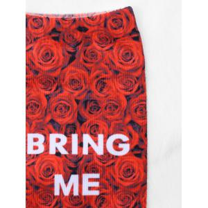 Pair Of Letter Rose Print Graphic Ankle Socks -