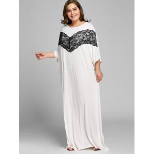Plus Size Lace Panel Maxi Shift Dress -