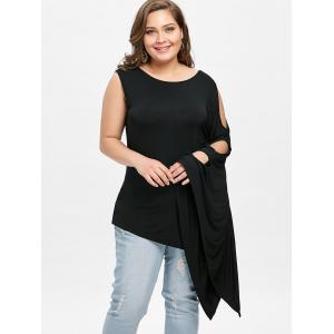 Plus Size Batwing Sleeve One Shoulder Tee -