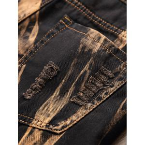 Acid Wash Ripped Detail Straight Jeans -