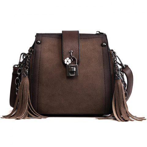 Discount PU Leather Lock Embellished Tassel Crossbody Bag