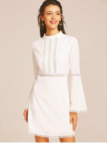 Lace Trim Flare Sleeve Flare Dress