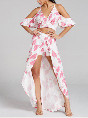 Buy Leaves Print Cropped Top and Maxi Skirted Shorts