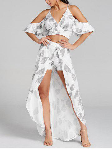 Discount Leaves Print Cropped Top and Maxi Skirted Shorts